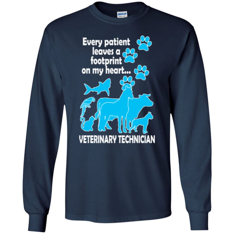 Long Sleeve - Every Patient Leaves A Footprint On My Heart Veterinary Technician LS Ultra Cotton Tshirt