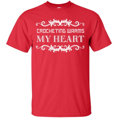 Short Sleeve - Crocheting Warms My Heart  Cotton T-Shirt