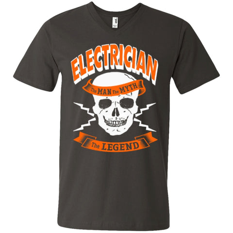 Short Sleeve - Electrician The Man The Myth The Legend   Printed V-Neck T