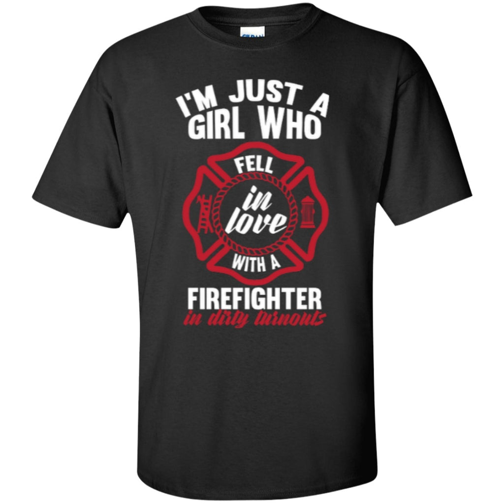 Short Sleeve - Fell In Love With Firefighter  Cotton T-Shirt