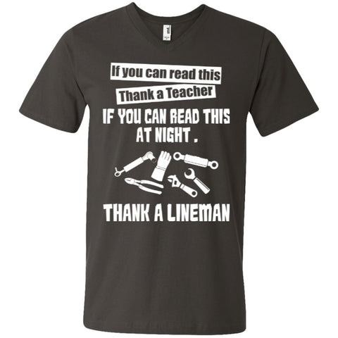 Short Sleeve - If You Can Read This Thank A Teacher If You Can Read This At Night Thank A Lineman   Printed V-Neck T