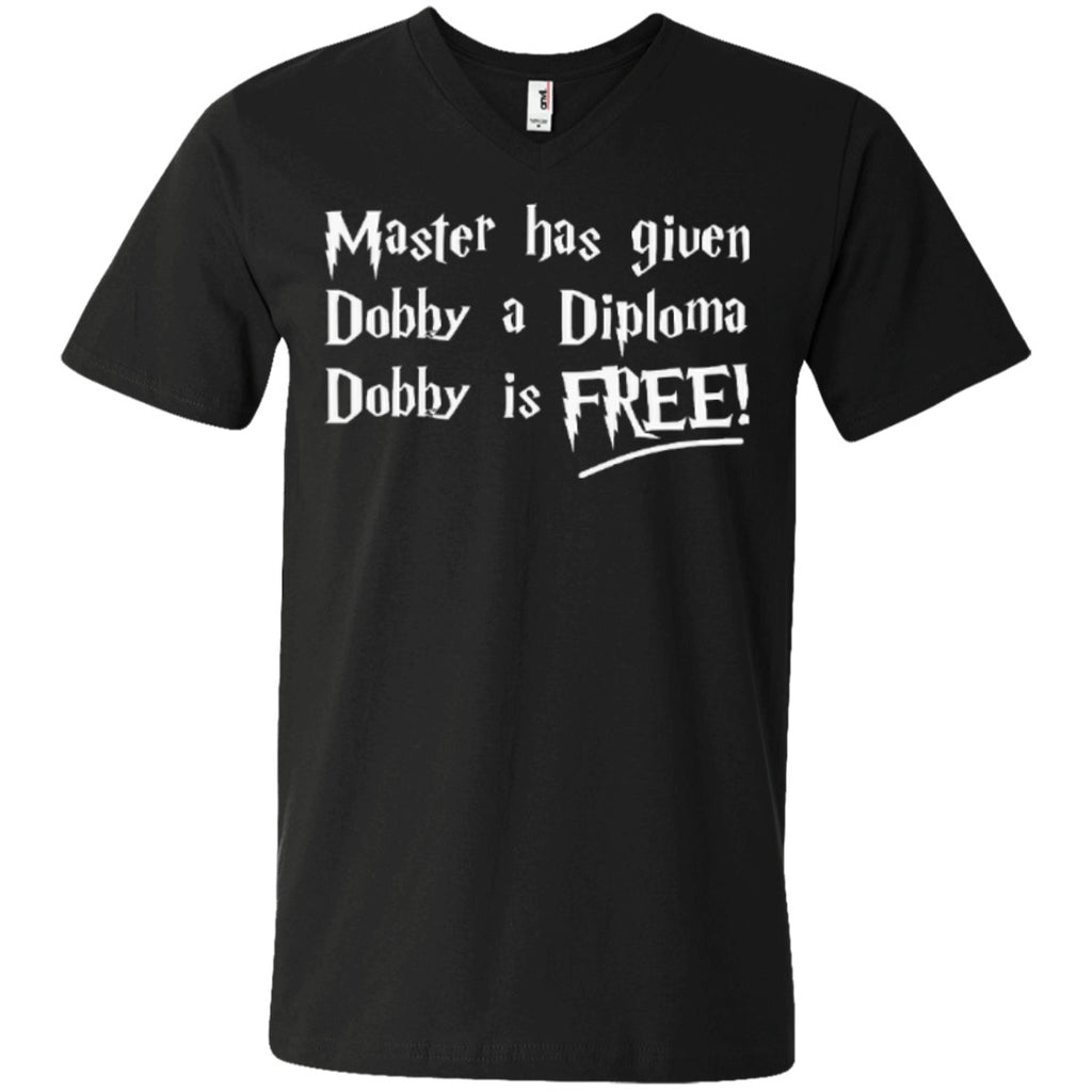 Short Sleeve - Master Has Given Dobby A Diploma Dobby Is Free   Men's Printed V-Neck T