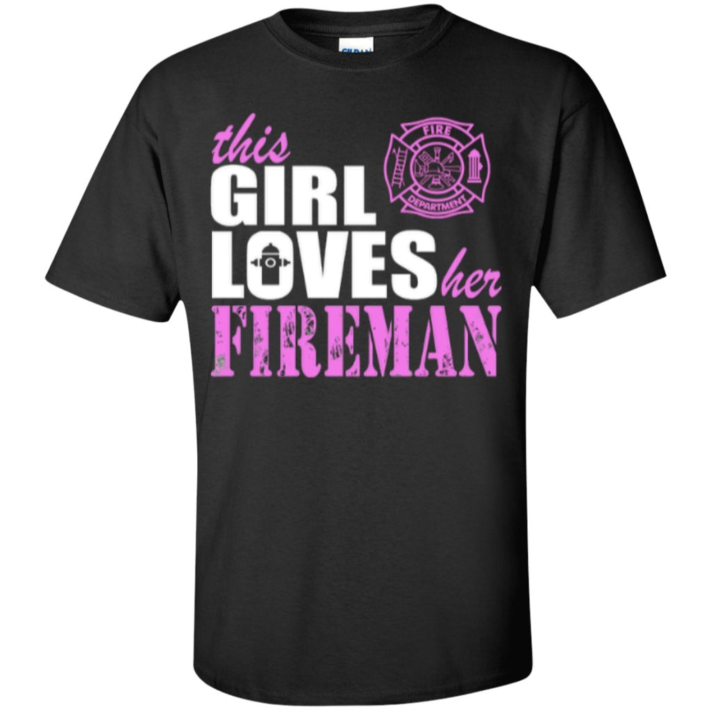 Short Sleeve - This Girl Loves Her Fireman  Cotton T-Shirt