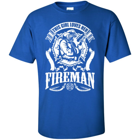 Short Sleeve - This Girl Loves Her Fireman  T-Shirt