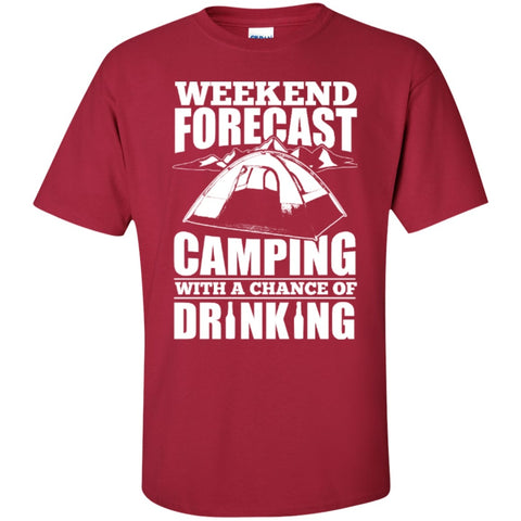 Short Sleeve - Weekend Forecast Camping With A Chance Of Drinking  T-Shirt