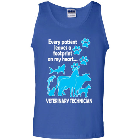 Sleeveless - Every Patient Leaves A Footprint On My Heart Veterinary Technician 100%Cotton Tank Top