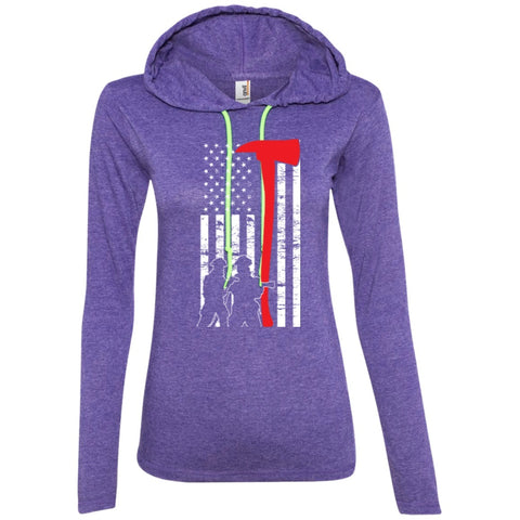 T-Shirts - Firefighter Flag Ladies LS T-Shirt Hoodie