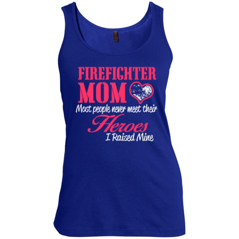 T-Shirts - Firefighter Mom Most People Never Meet Their Heroes I Raised Mine   Scoop Neck Tank Top