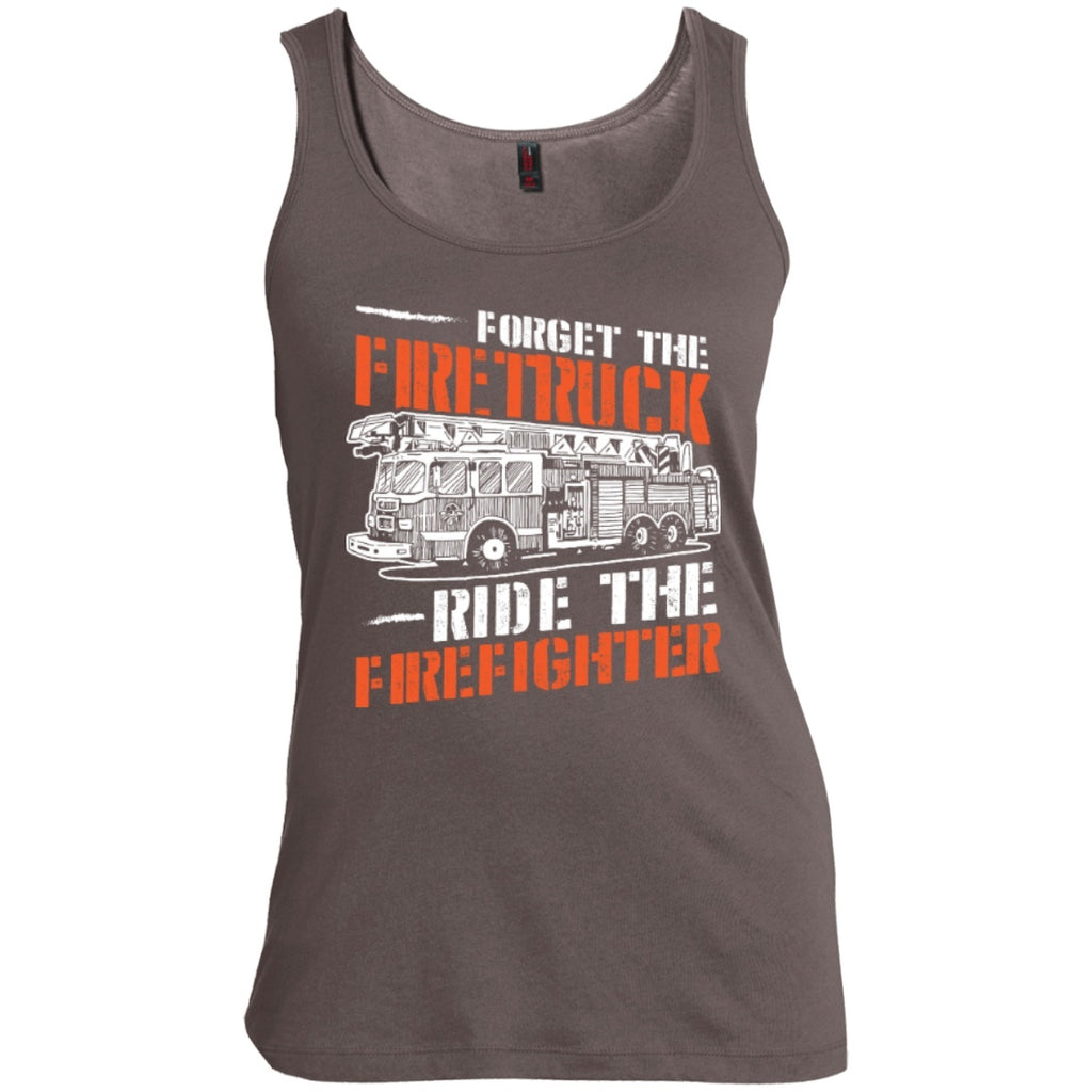 T-Shirts - Forget The Firetruck Ride The Firefighter   Scoop Neck Tank Top