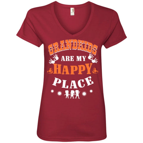 T-Shirts - Grandkids Are My Happy Place T-Shirt  ' V-Neck Tee