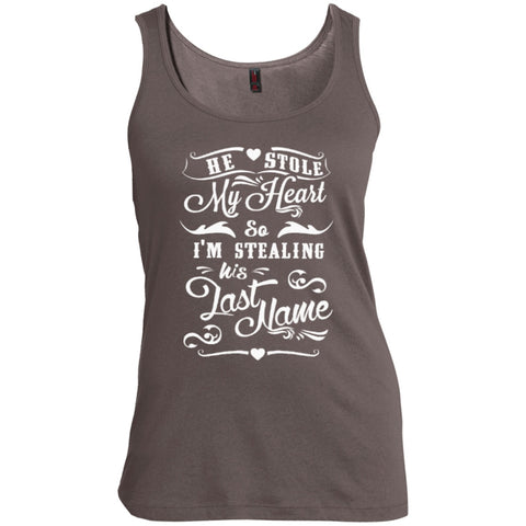 T-Shirts - He Stole My Heart So I'm Stealing His Last Name    Scoop Neck Tank Top