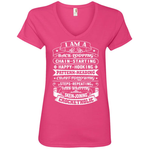 T-Shirts - I Am A Crochetholic  Ladies' V-Neck Tee