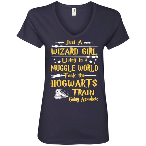 T-Shirts - Just A Wizard Girl Living  Ladies ' V-Neck Tee