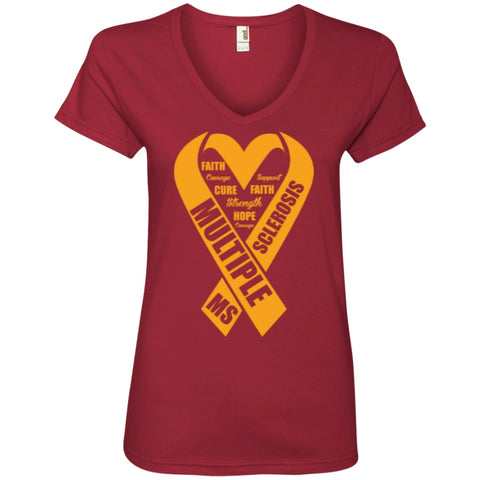 T-Shirts - MS Heart  Ladies' V-Neck Tee