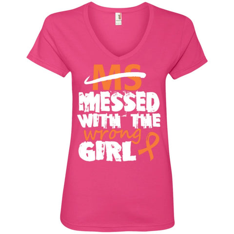 T-Shirts - Ms Messed With The Wrong Girl  V-Neck Tee
