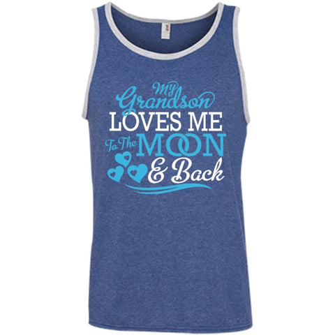 T-Shirts - My Grandson Loves Me  100% Ringspun Cotton Tank Top