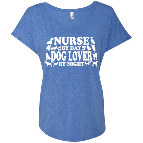 T-Shirts - Nurse By Day Dog Lover By Night    Level Ladies Triblend Dolman Sleeve