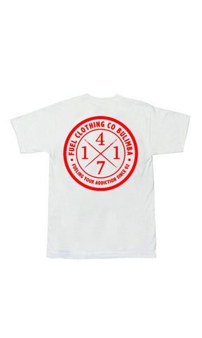 4171 Tee White/Red - Fuel Clothing