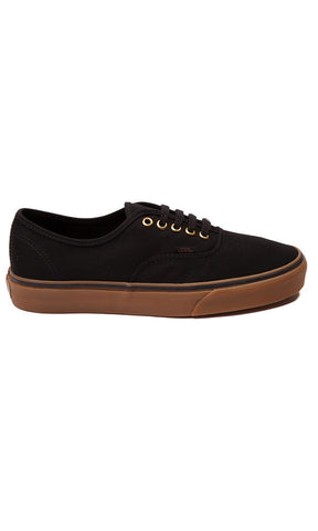 Vans Authentic Canvas Shoes Black/Gum - Fuel Clothing