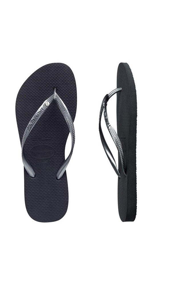 a0d53e7f9dce8 Havaianas Kids Slim Crystal Black Silver – Fuel Clothing