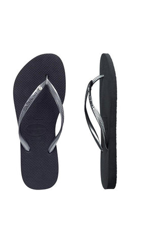Havaianas Kids Slim Crystal Black/Silver - Fuel Clothing