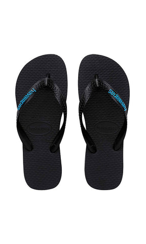 Havaianas Rubber Logo Black/Blue - Fuel Clothing  - 1