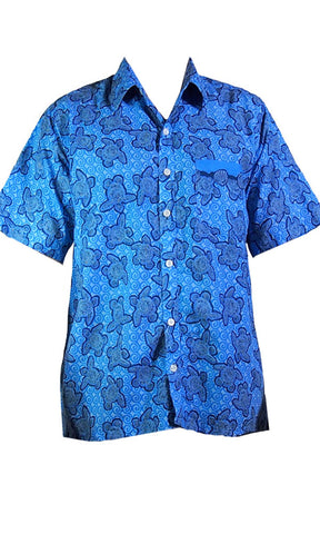 Nude Beach Turtle Lagoon Shirt Blue