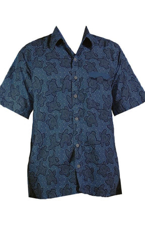 Nude Beach Turtle Lagoon Shirt Navy