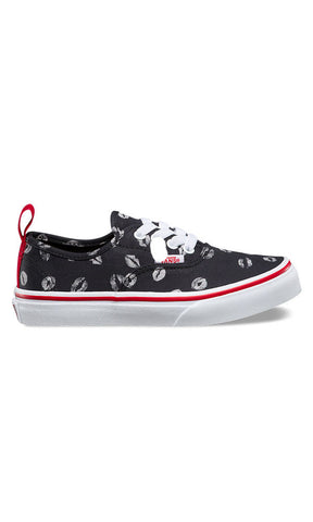 Vans Authentic Youth Elastic Lace Black/Red Lips