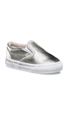 284a9b8ccee Vans Kids Classic Slip-on Metallic Silver