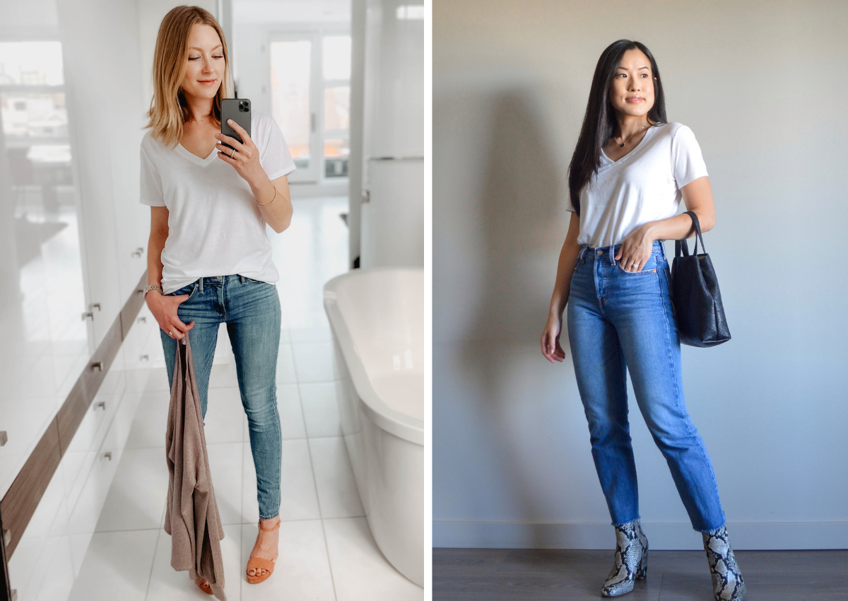Classic White T-Shirt & Jeans With A Statement Heel Twist