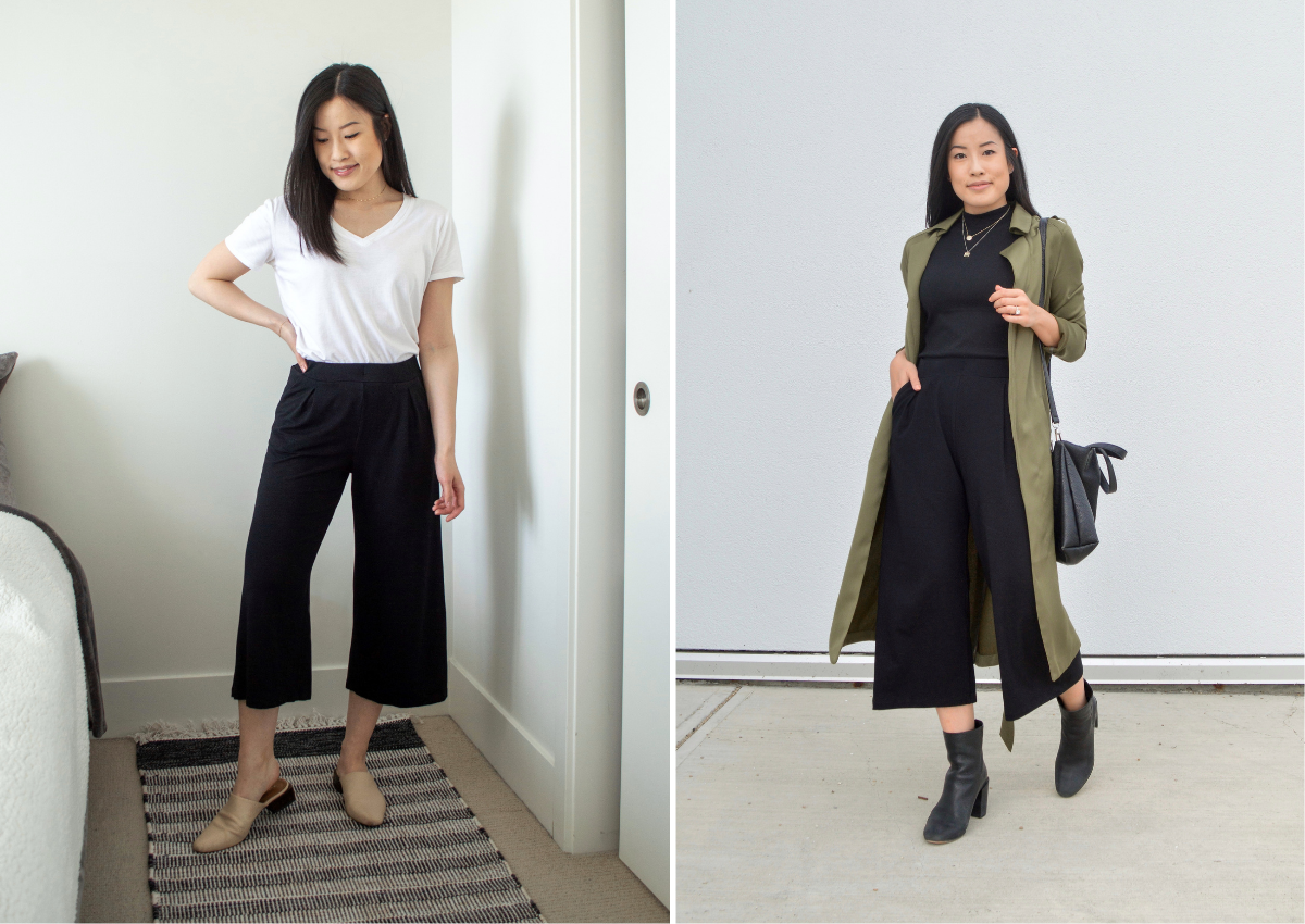 Comfy wide leg crop styled with a t-shirt, jacket, heels and mules