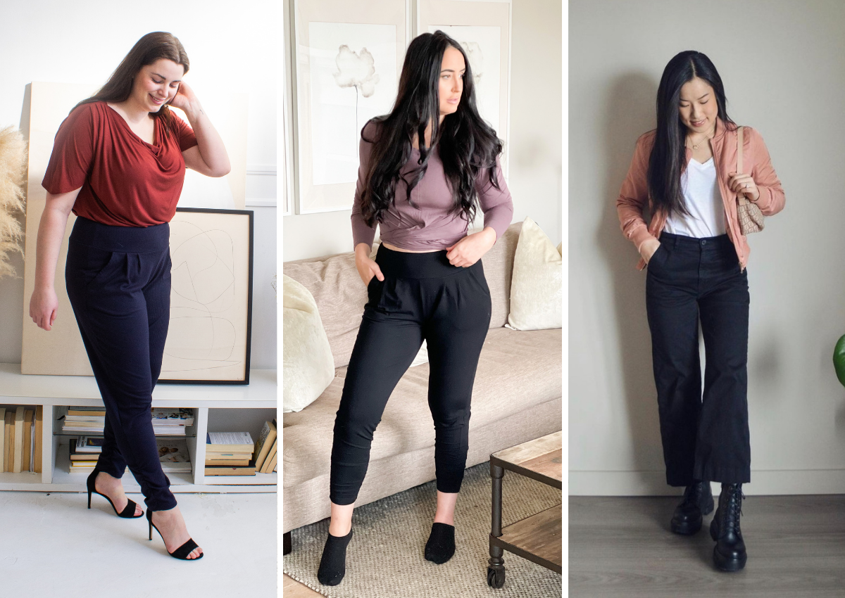 Pink, red and light purple tops with dark navy and black bottom outfits