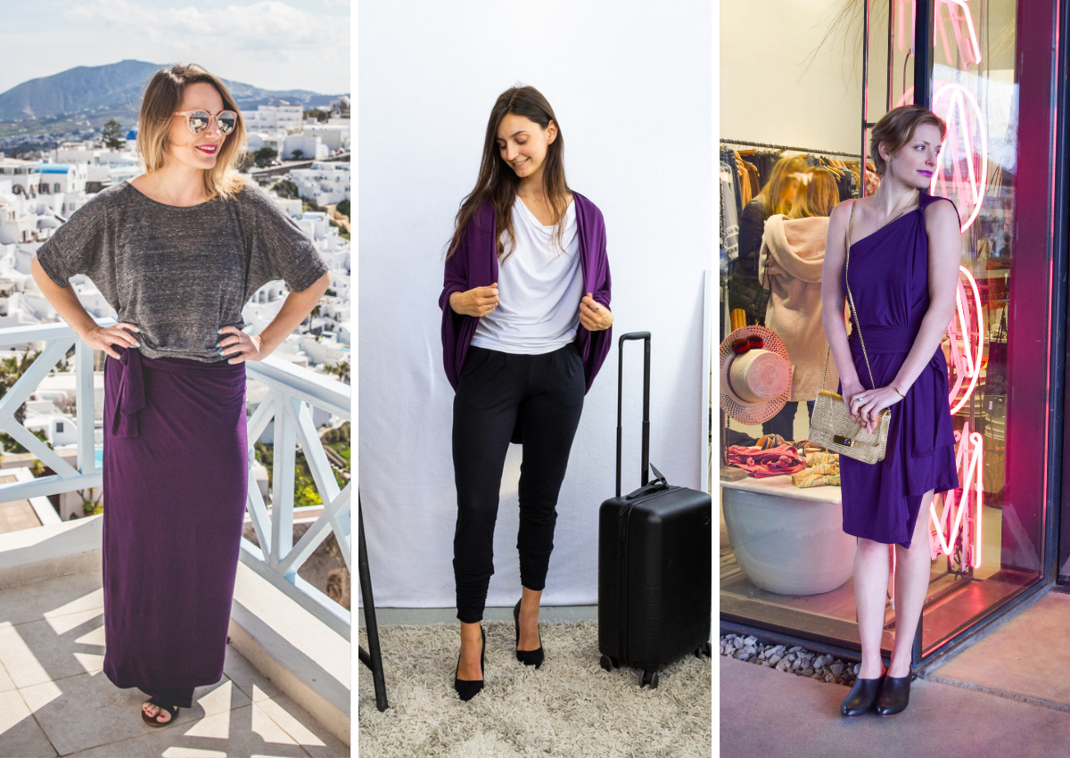Purple Chrysalis Cardi worn as a skirt, cardigan and dress with grey, black and white accents
