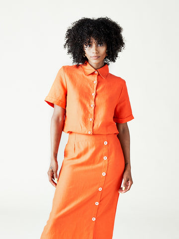 The Isla Shirt + The Isla Skirt in Spicy Orange from Left Edit