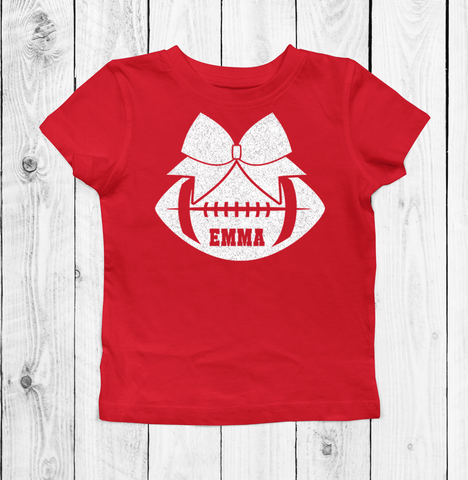 ef72c16d1b9 White Glitter Personalized Cheer Bow on Red Shirts, Hoodies, Tank Tops