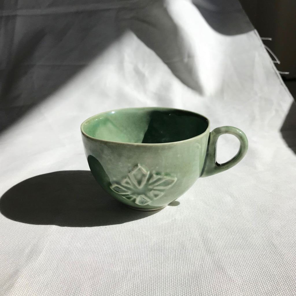Sian Thomas Green Rosette Ceramic Tea Cup