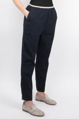 Pomandere Cotton Blend Pant in Navy