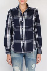 Frank & Eileen Long Sleeve Button Down Navy White Flannel