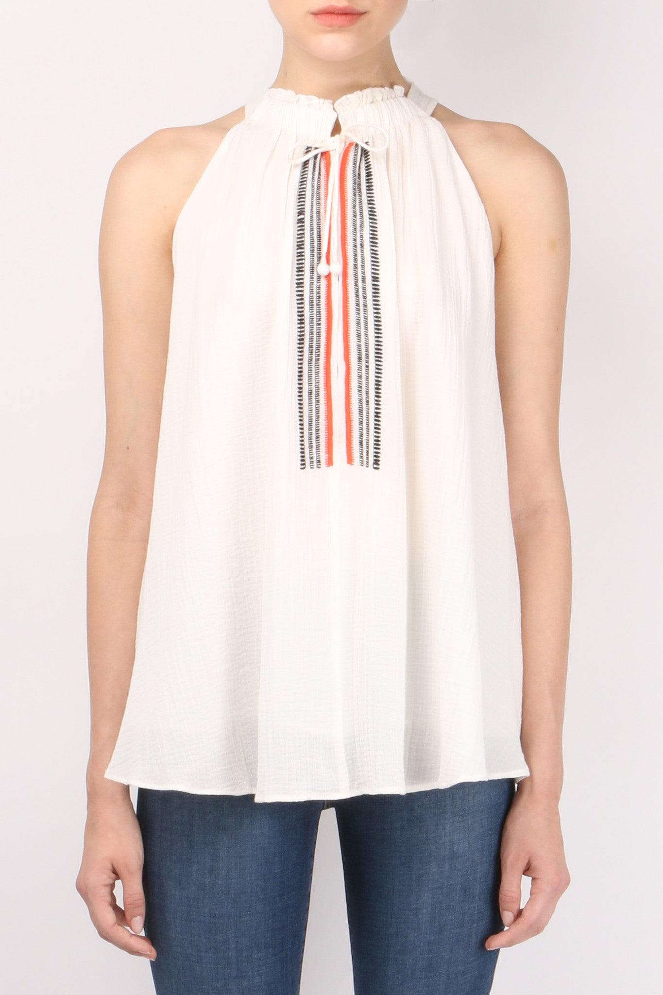 Apiece Apart Embroidered Asientos Sweep Top