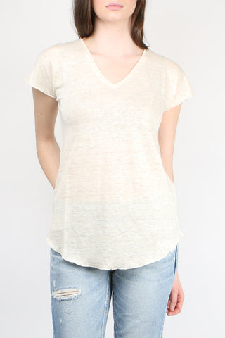 Cathrine Hammel Linen V-Neck Tee Shirt Off-White Melange