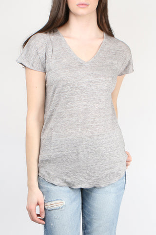 Cathrine Hammel Linen V-Neck Tee Shirt Light Grey Melange
