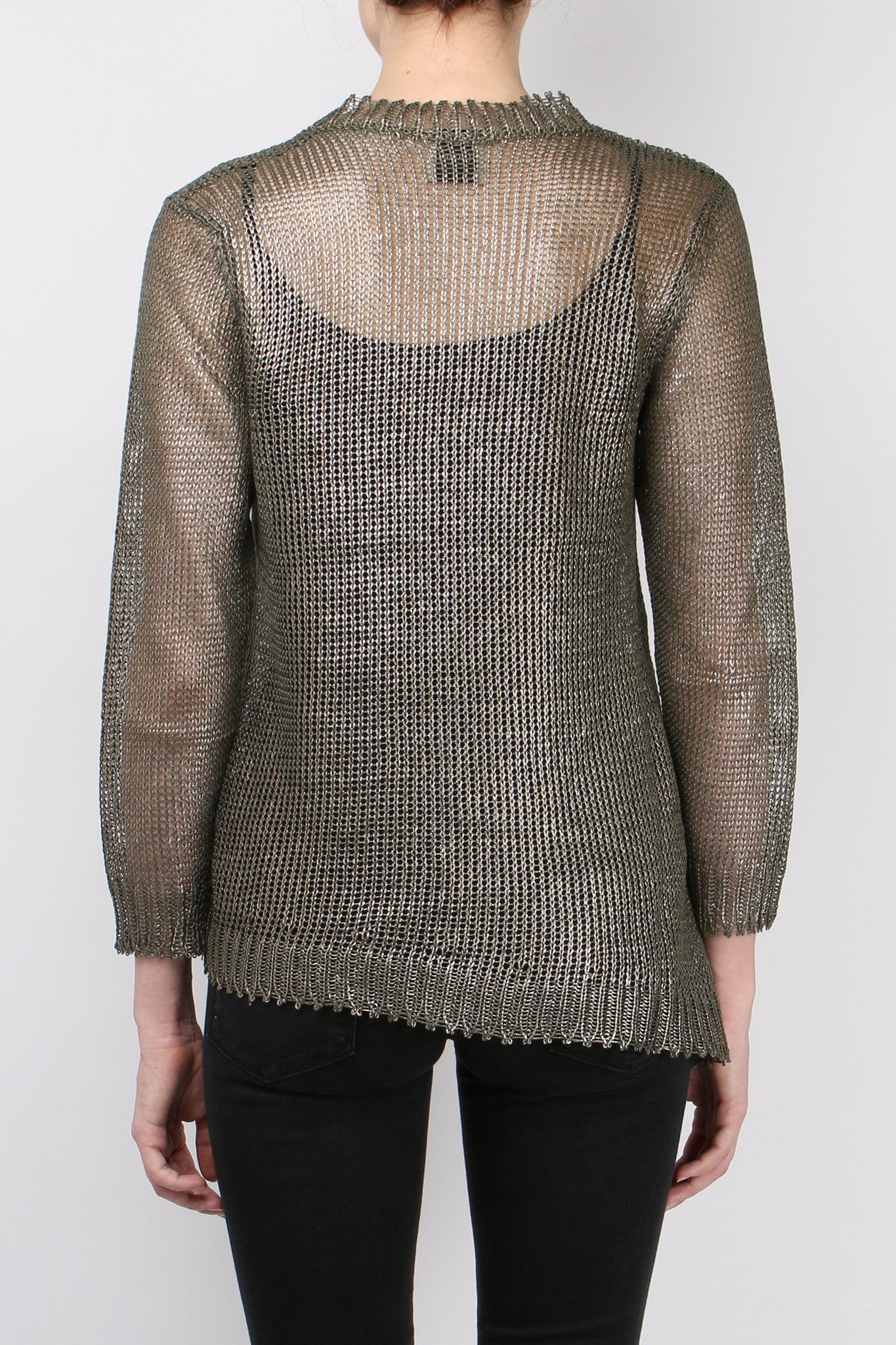 (nude) Coated Linen Sweater Military