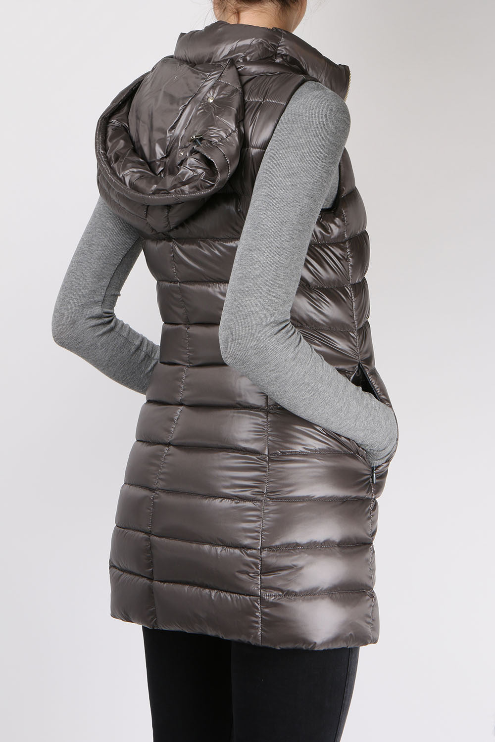 Herno Long Fitted Down Vest Charcoal