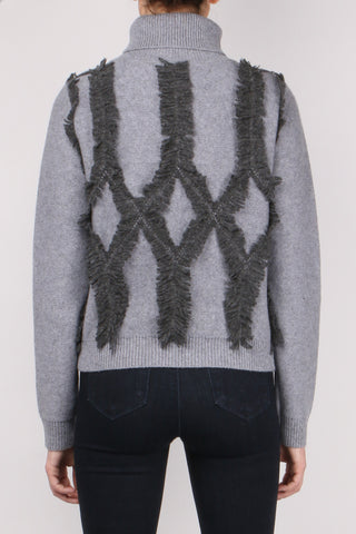 Shredded Argyle Turtleneck