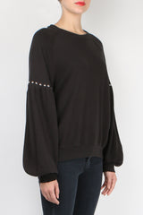 The Great The Bishop Sleeve Sweatshirt Black with Studs