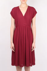 Pomandere Cross Front Dress Burgundy
