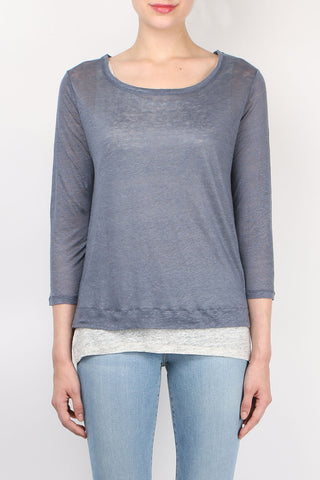 Double Layer 3/4 Sleeve Boatneck