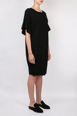 Allude Ruffle Sleeve Dress Black
