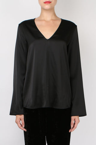 Giada Forte Satin V Neck Top Nero